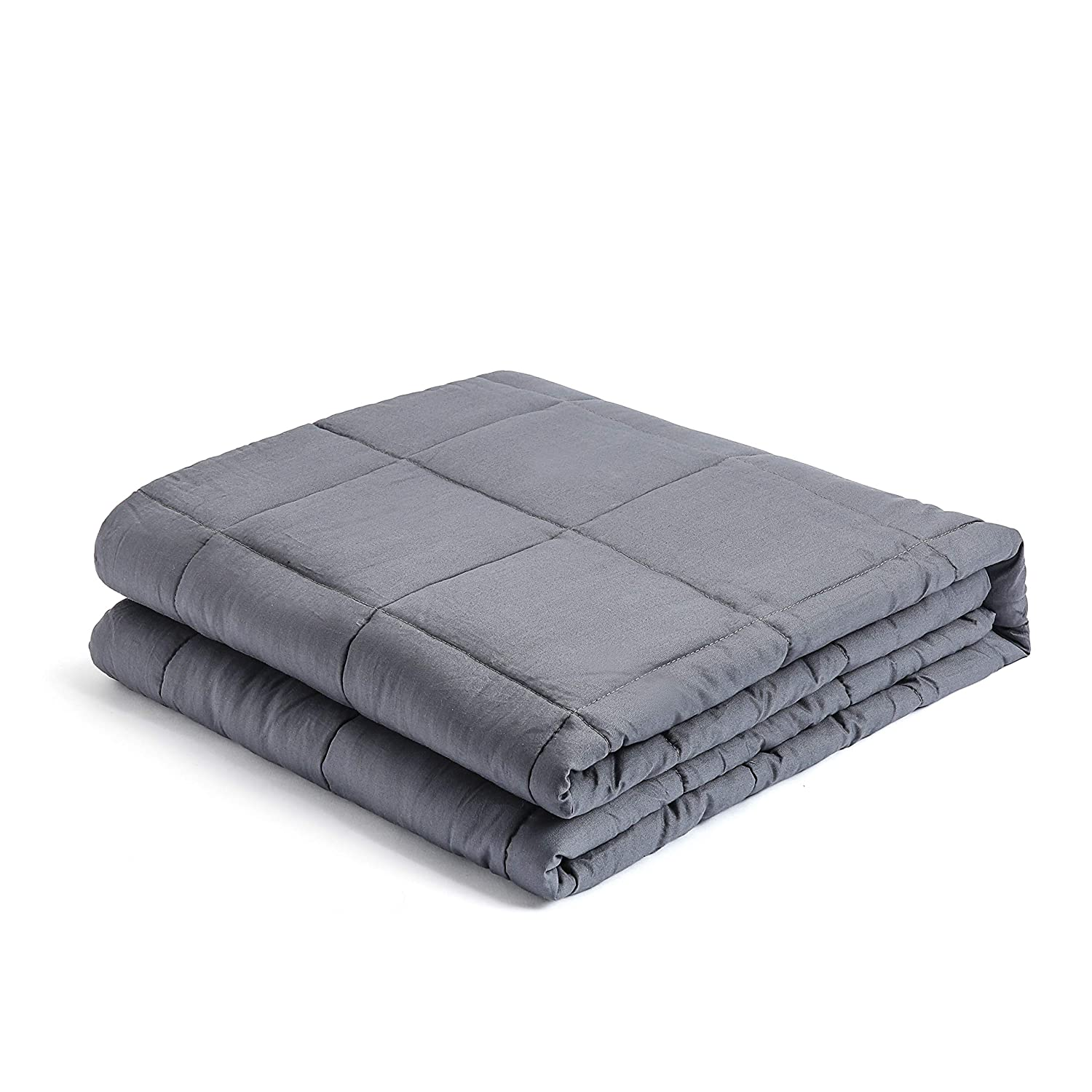 """LAGRATY Weighted Blanket for Adults 15 lbs, 60/""""x80/"""", Queen Size Premium Cotton with Glass Beads Grey LA-WT-1.0 