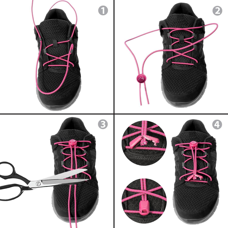 Negro 1 Par CampTeck No Tie Cordones Corredores Ancianos Deportes Zapatillas Cordones El/ásticos con Sistema de Bloqueo ideal para Ni/ños Marat/ón