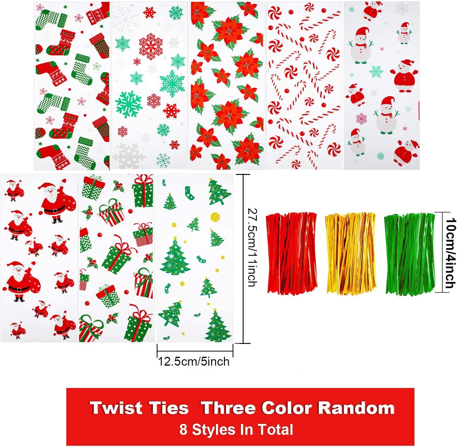 8 Different Styles 200 Pieces Christmas Cellophane Bags Christmas cello Treat Bags Candy Cookies Goodie Gift Bags with 300 Pieces Twist Ties for Theme Party Supplies