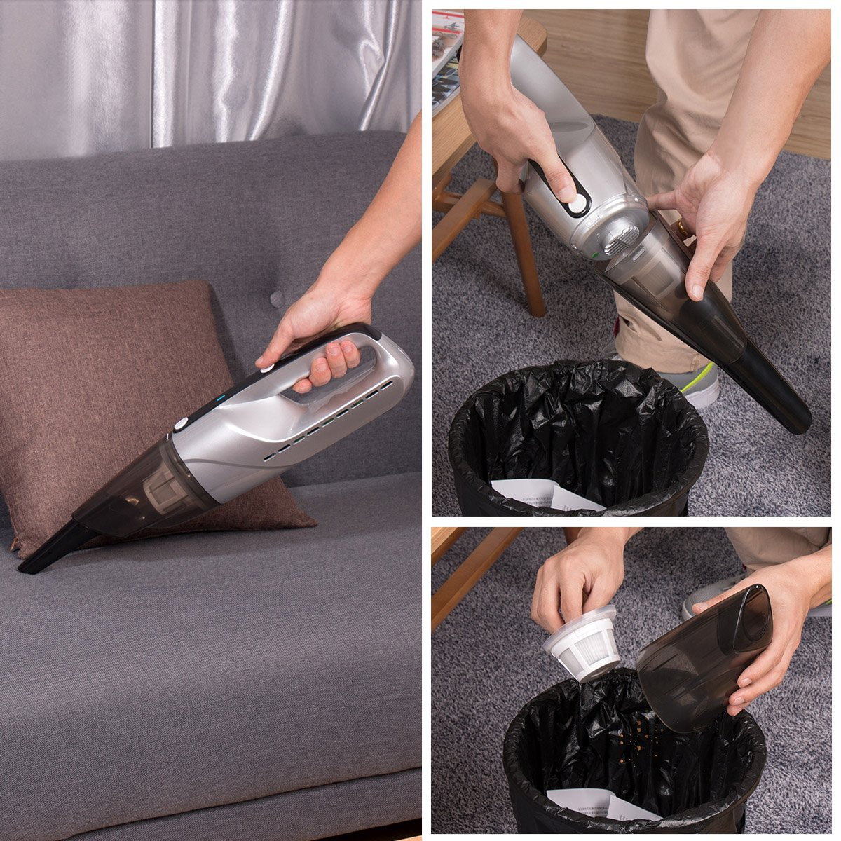 Car Vacuums Powerful Vacuum Cleaner EVERTOP 4500PA Strong Suction 7.2V Rechargeable Handheld Auto Vacuum Cleaner/Car Hoover with 3pcs Suction Nozzles,for Cars, Keyboards, Sofas, Breadcrumbs, Dust (Silver)