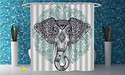 IPrint Fabric Shower Curtain Elephant MandalaEthnic Indian Floral Paisley Print Sacred Animal Head