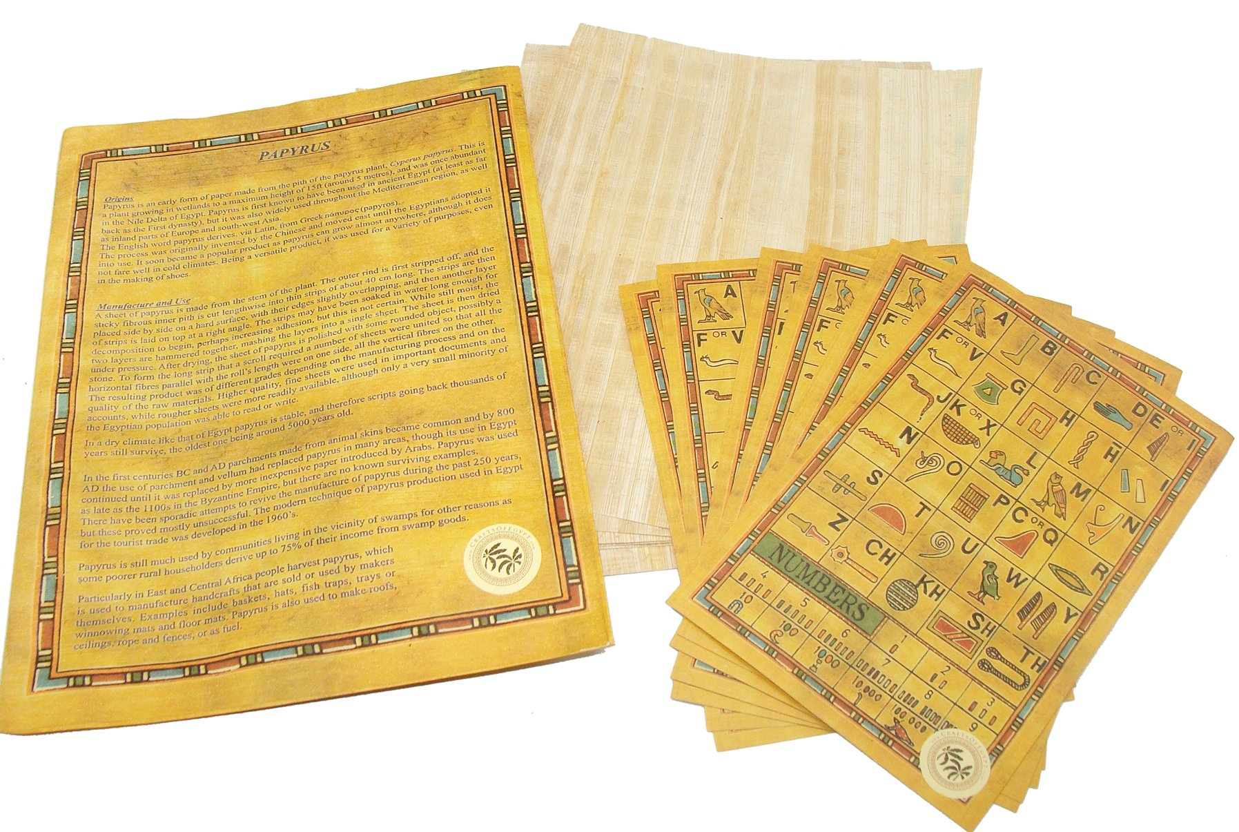 Set 10 Egyptian Papyrus Paper 6x8 Inch (15x20 cm) - Ancient Alphabets Papyrus Sheets-Papyri for Art Project, Scrapbooking, And School History - Ideal Teaching Aid Scroll Paper- By CraftsOfEgypt