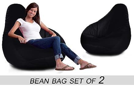 Bedspun Set Of 2 Faux Leather Bean Bag Without Beans Black XXL