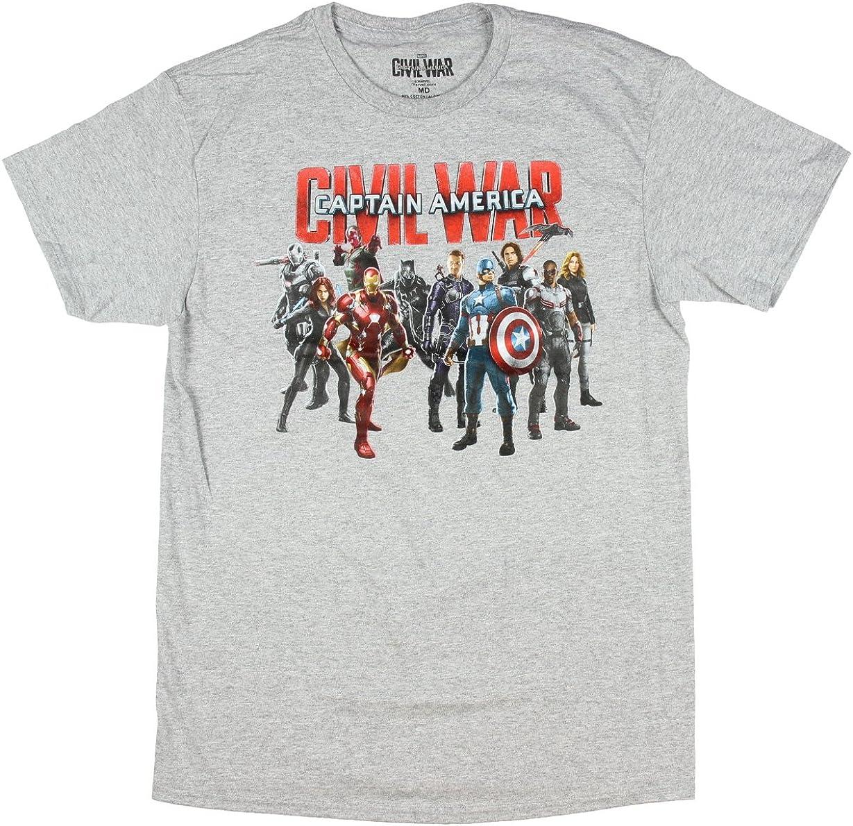 El Capitán América La Guerra Civil Grupo disparó Mens T-Camisa (Grande): Amazon.es: Ropa y accesorios