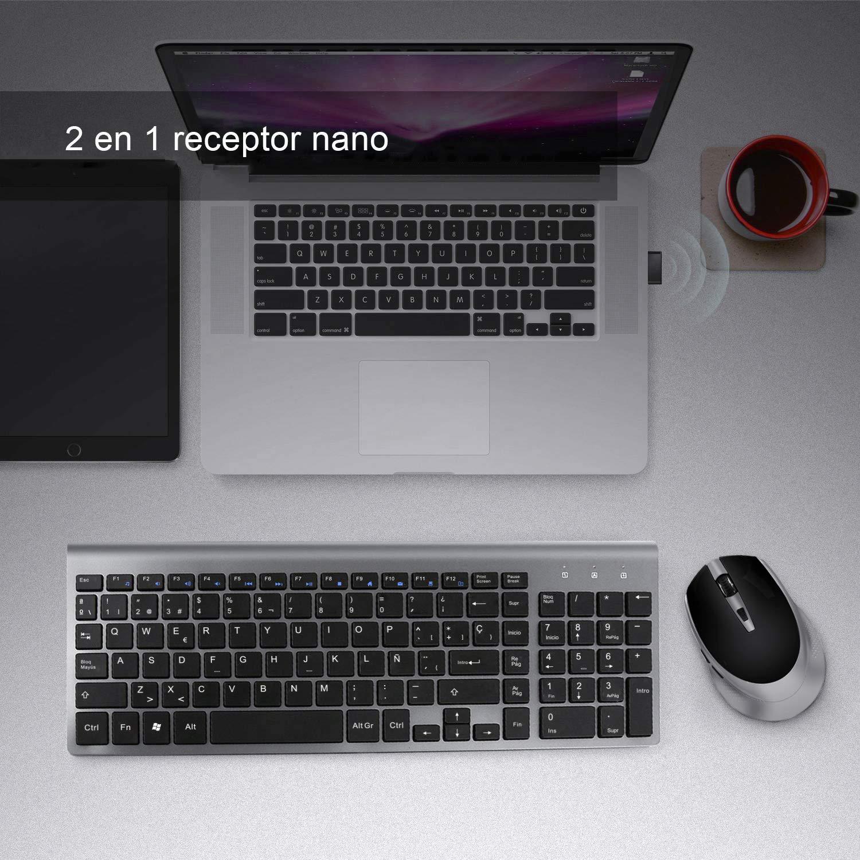 BJL Teclado y Ratón Inalámbrico Español Teclado QWERTY Inalámbrico,Compacto, Ergonómico,con Teclado Numérico,Ratón Inalámbrico de PC y Portátil,2400 dpi ...