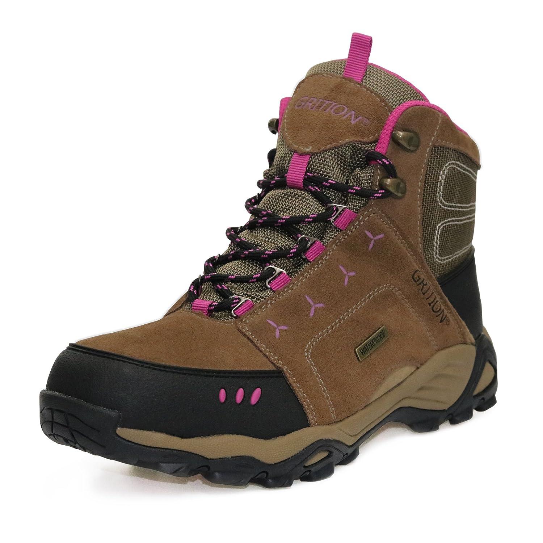 Mountain Hiking Womens Boots - Zapatos Impermeables para la Lluvia Zapatos para Caminar de Ante de Vaca Añadido Grip Ladies Winter Boots - Calzado Femenino para Trekking 39 EU|marrón