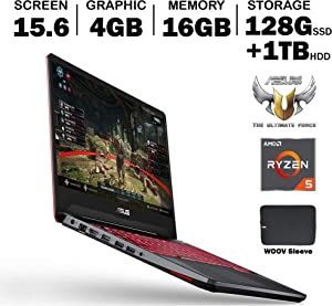ASUS TUF FX505DT 15.6 Inch Full HD IPS Gaming Laptop, GeForce GTX 1650 4GB, AMD Ryzen 5 R5-3550H (Beat i7-7700HQ), 16GB DDR4, 128GB PCIe SSD, 1TB HDD, RGB Backlit Keyboard, Windows 10, Woov Sleeve