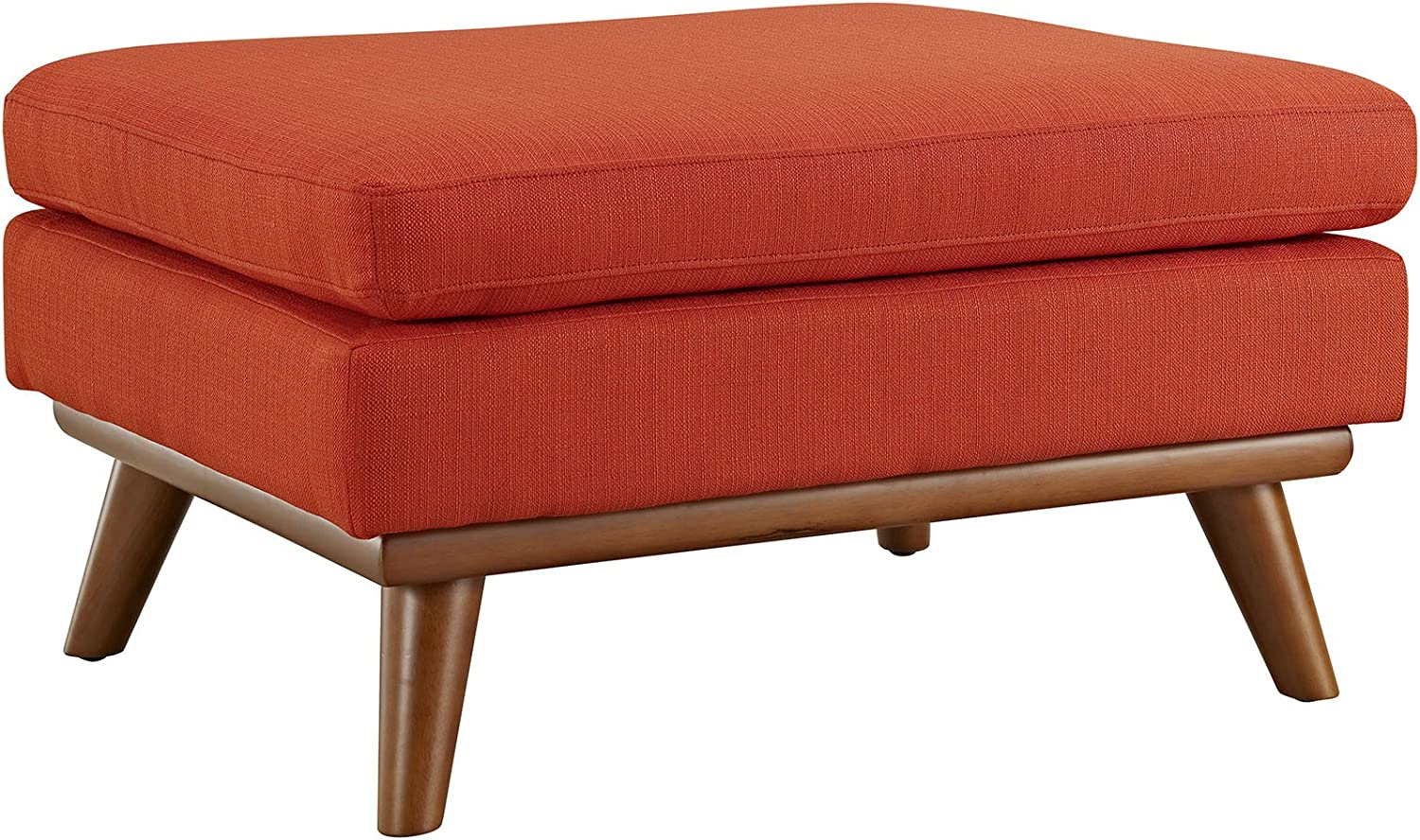 Modway Engage Mid-Century Modern Upholstered Fabric Ottoman in Atomic Red
