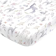 NoJo Super Soft Floral Deer Nursery Mini Crib Fitted Sheet, Grey, Light Blue, Pink, White