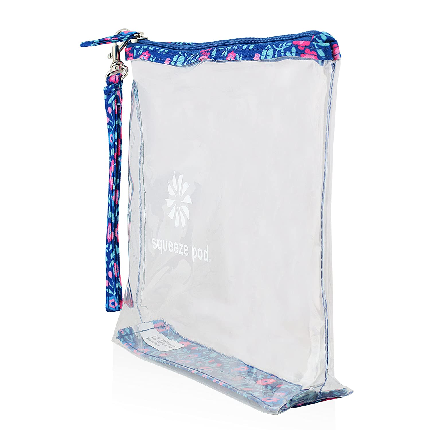 Zipper /& Carry Strap Clear Travel Bag with Heavy Duty Transparent Plastic Pouch Stands Up for Easy Loading Beach Water Resistant Great for Day Trips Pool or Sporting Events Flower Trim CTBMSF