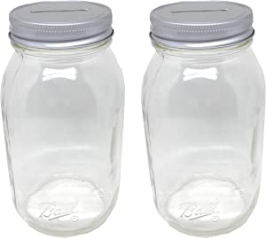 2 Smooth Sided Quart Mason Jars with One Piece Slotted Lid Regular Mouth Quart 32oz Piggy Bank for All Ages (2)