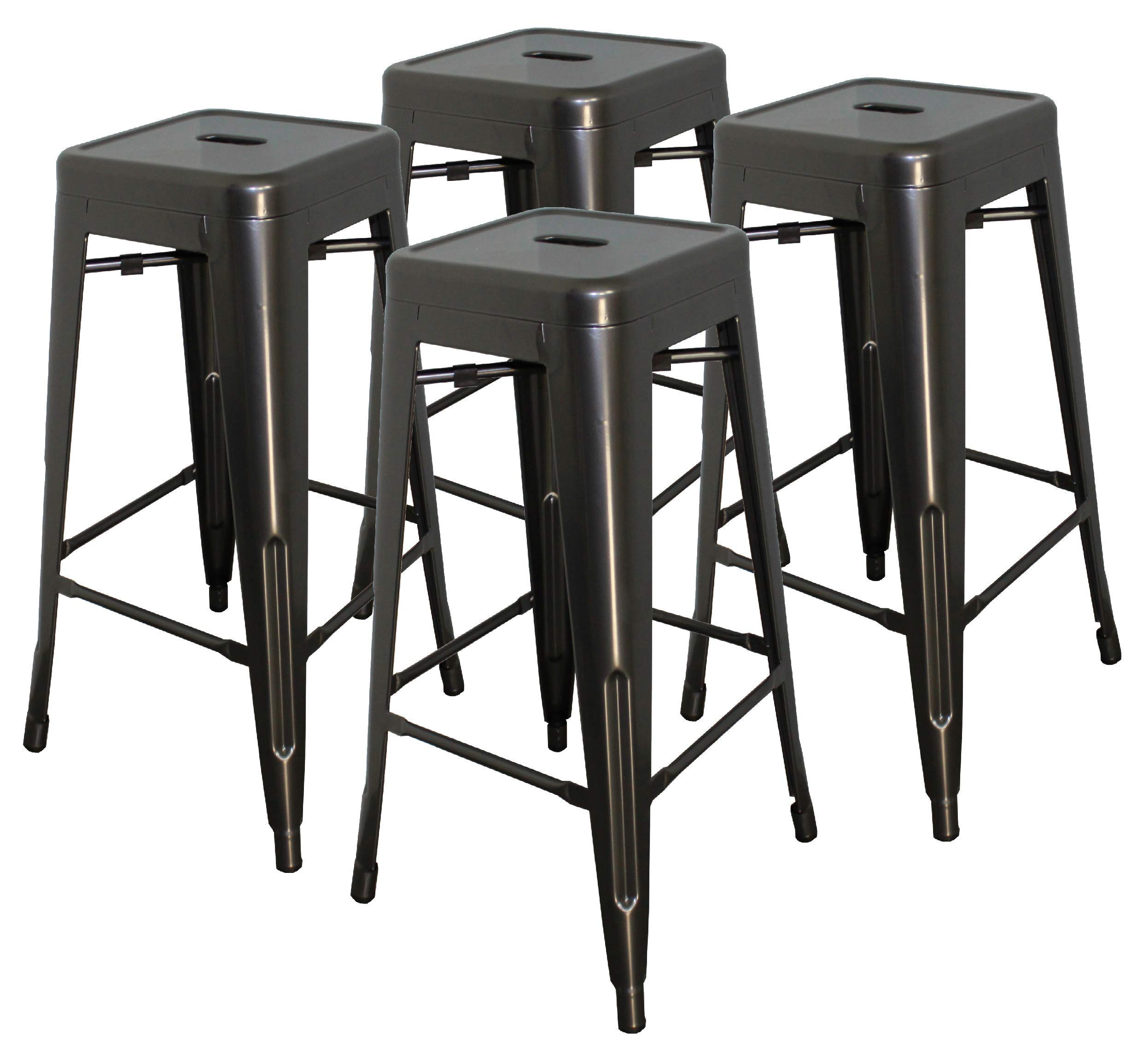 Hercke 30'' Stacking Metal Bar Stool (4 Pack) Steel - Gunmetal Gray - Kitchen Island Counter Industrial Indoor Outdoor Backless Chair | by SafeRacks (30'') by Hercke