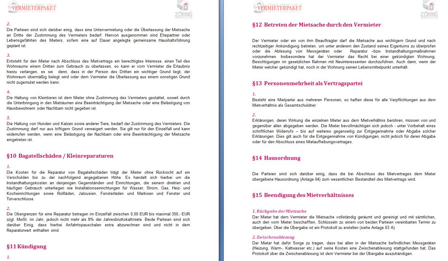 Mietvertrag für Wohnung und Gewerbe als DOC und PDF [Download ...