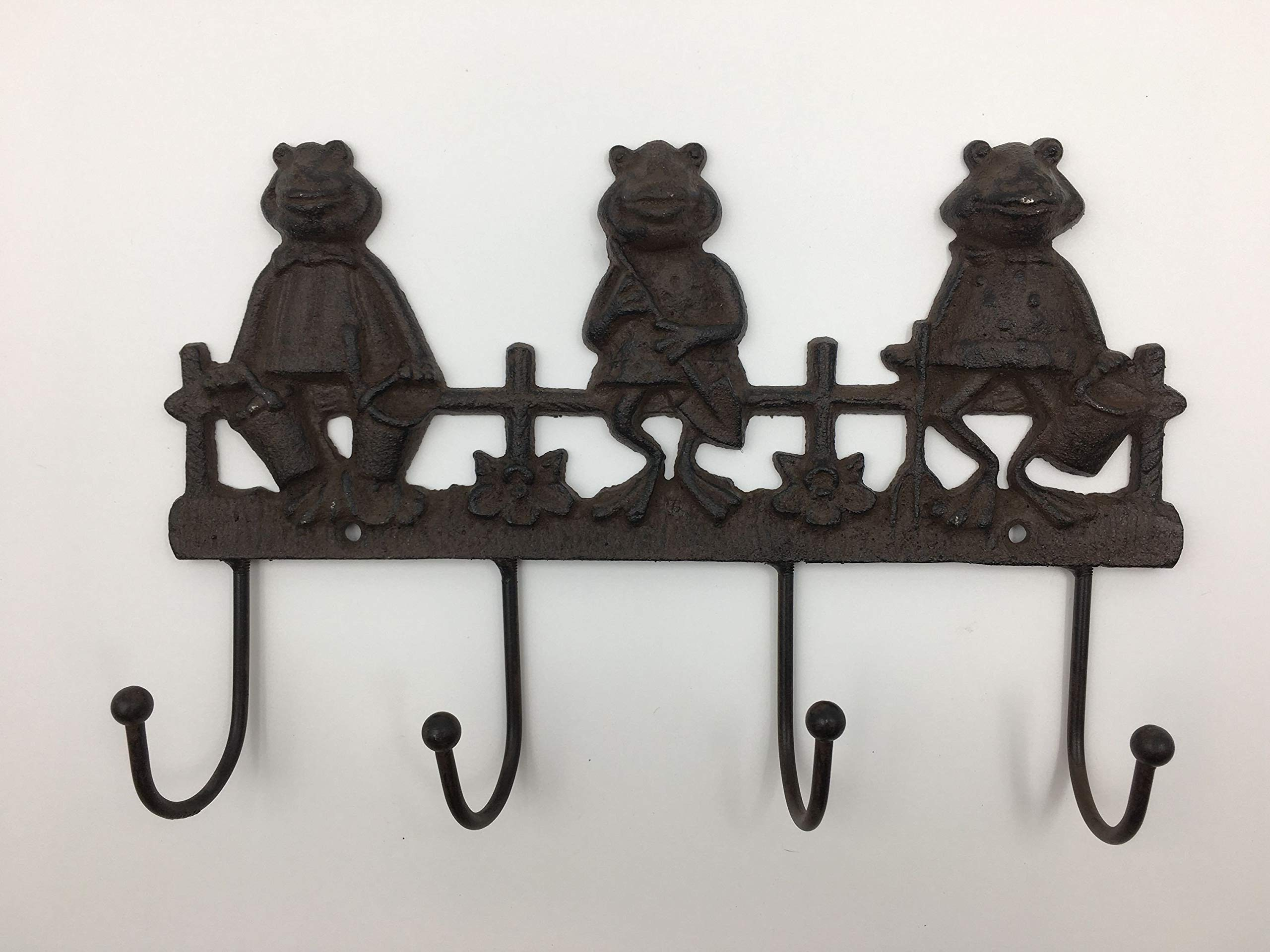 Jcook Home Decor Frog Cast Iron Hook (4-Hook)