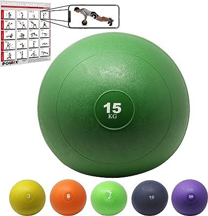 POWRX Slam Ball Balón Medicinal 15 kg - Ideal para Ejercicios de ...