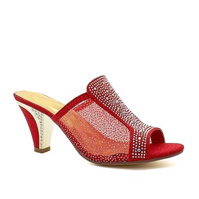 2435c20e91f6 Womens Low Mid Kitten Heels Diamante Sandals Ladies Bridal Wedding Prom  Shoes UK  Amazon.co.uk  Shoes   Bags