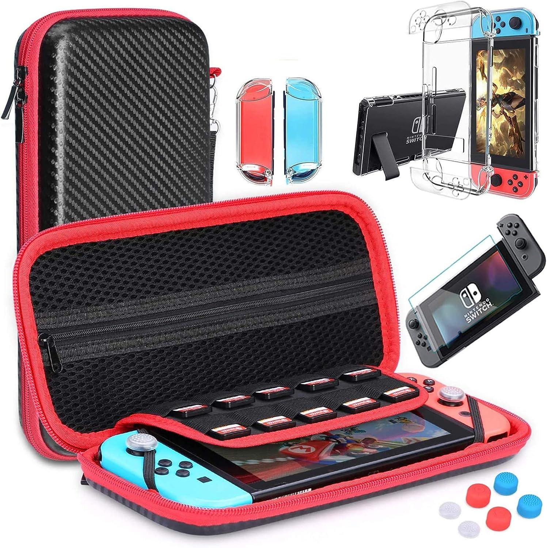 HEYSTOP Nintendo Switch Accesorio, Nintendo Switch Funda Funda de Transporte para Nintendo Switch Nintendo Switch Protector de Pantalla Apretones de Pulgar