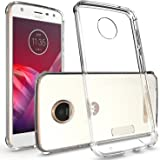 Moto Z2 Play Case, CoverON [ClearGuard Series] Hard Clear Back Cover with Flexible TPU Bumpers Slim Fit Phone Cover Case for Motorola Moto Z2 Play - Clear