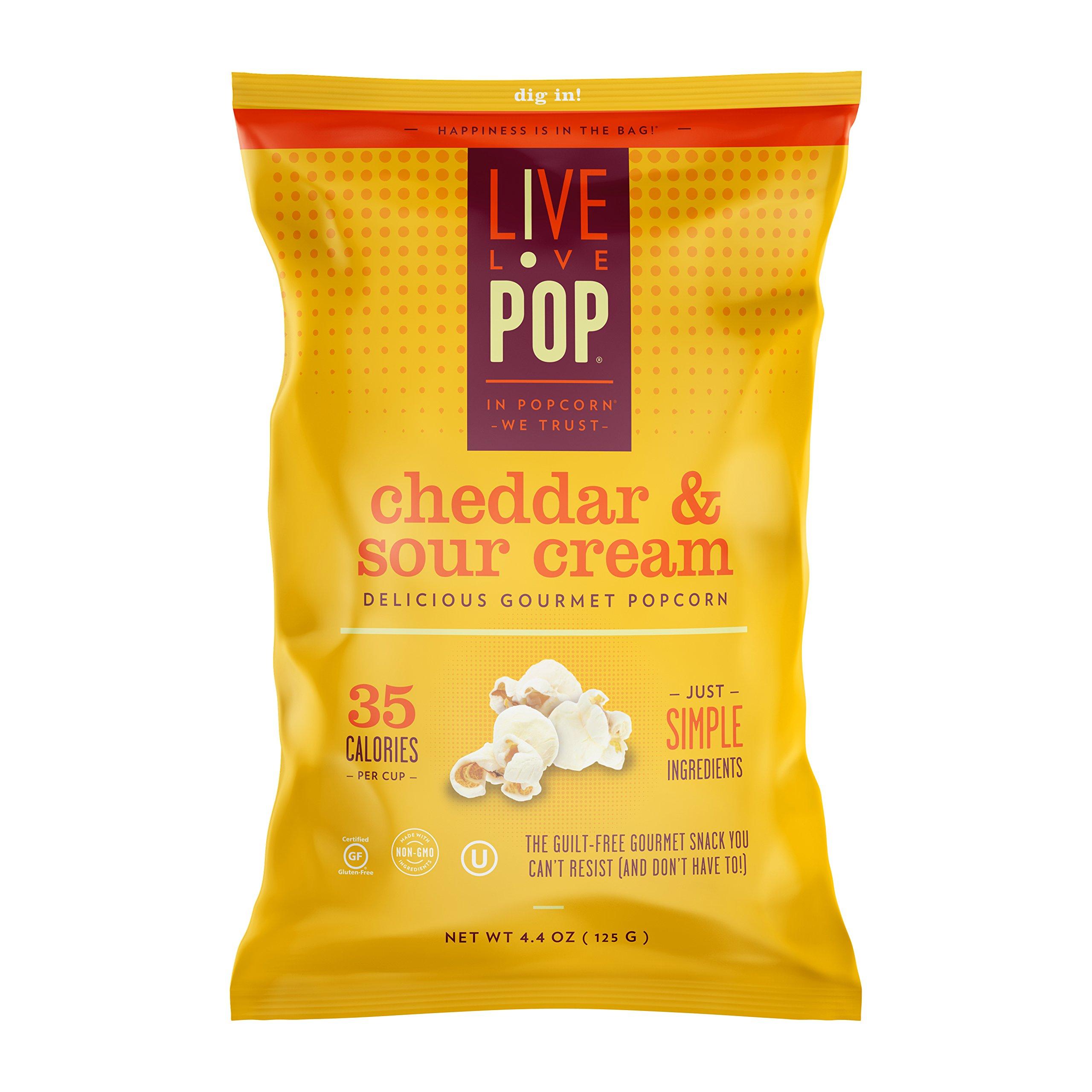Live Love Pop Cheddar & Sour Cream Popcorn 4.4 oz. (12 pack)