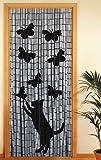 Wenko Rideau de porte en bois de bambou, 90X200 cm - motif chat et papillons