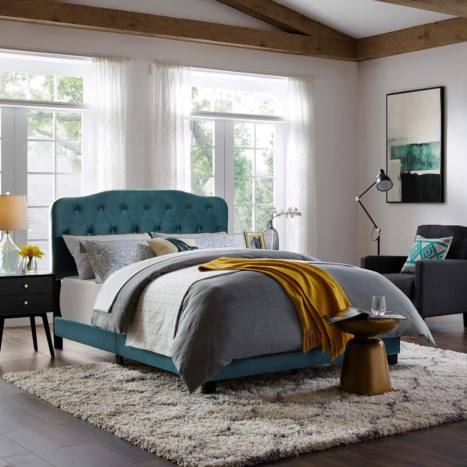 Modway Amelia Tufted Velvet Upholstered King Bed in Sea Blue by Modway