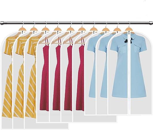 HBselect Pack De 10 Fundas De Ropa,Bolsas De Ropa Transparentes Impermeables Transpirables con Cremalleras a Prueba De Polvo para Traje Suéter Chaqueta Abrigos: Amazon.es: Hogar
