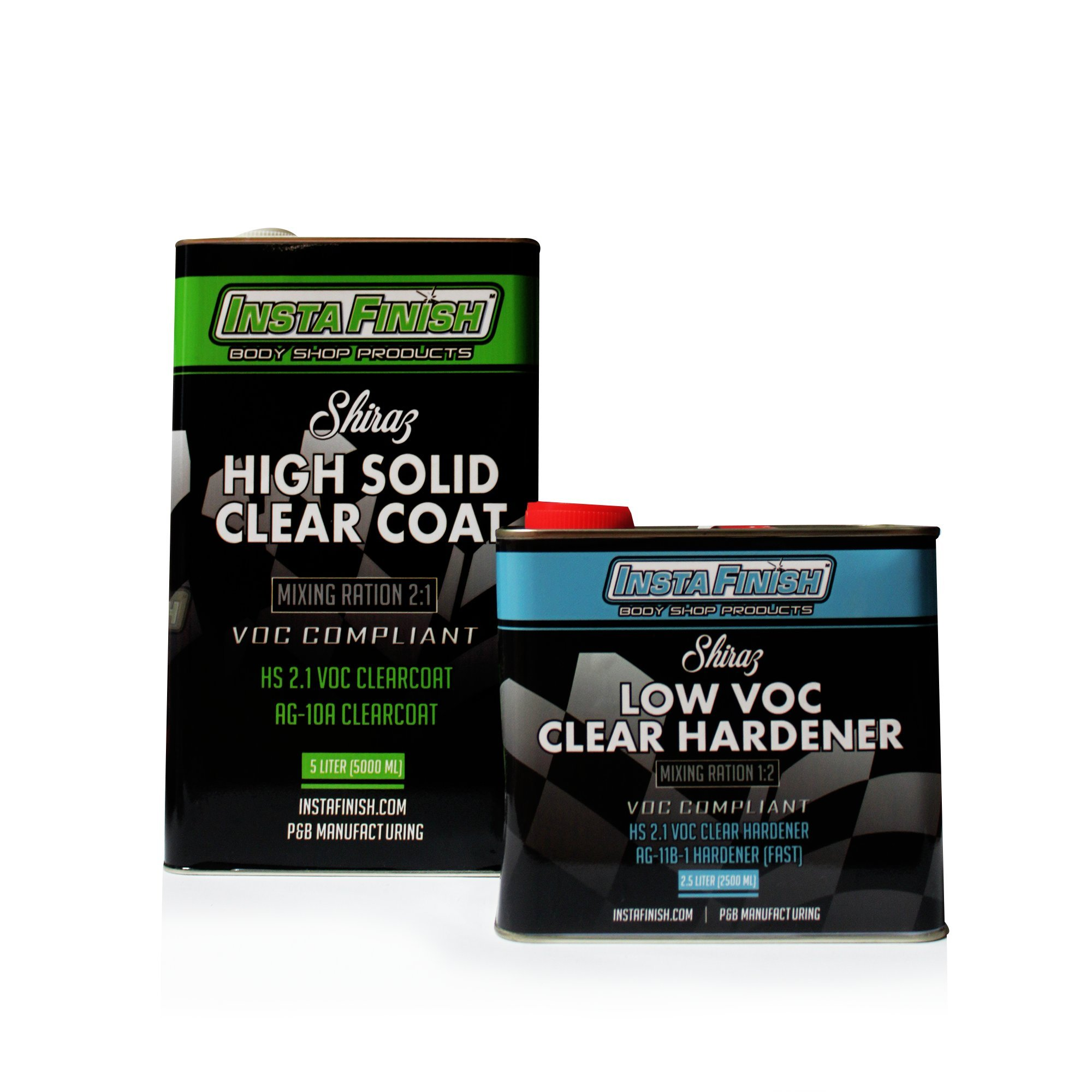 Insta Finish Shiraz 2.1 VOC HS Clear Coat w/2:1 Mixing ration & FAST hardener included AG-10A (7.5 LITERS TOTAL) + FREE PANEL SHOP 1200 POLISH (Fast Drying Hardener)