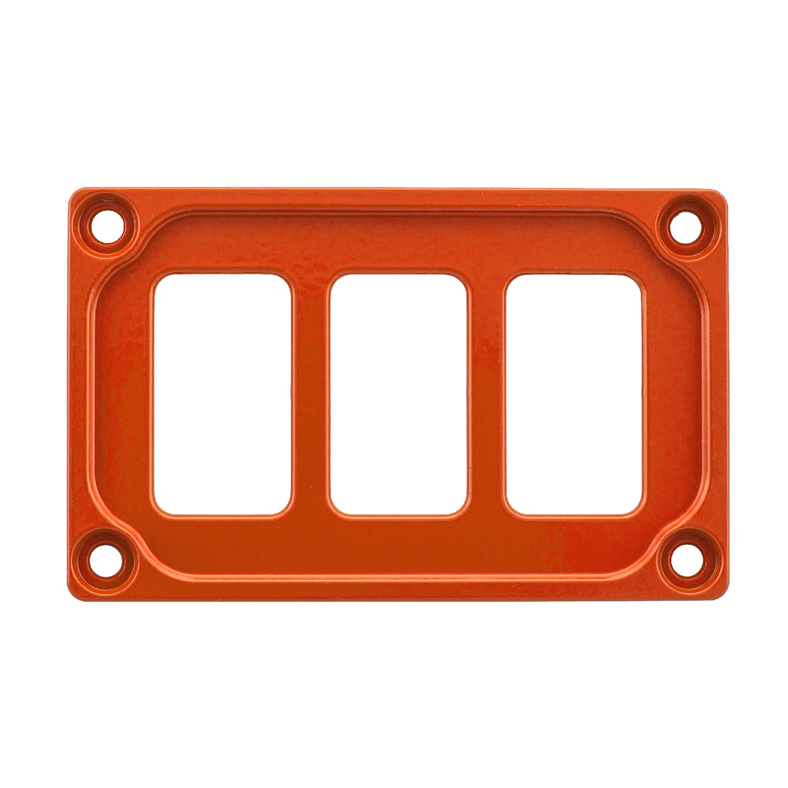 STV MOTORSPORTS Universal Switch Dash Panel Custom CNC Billet Aluminum 3 Rocker Switch Slots (Orange)