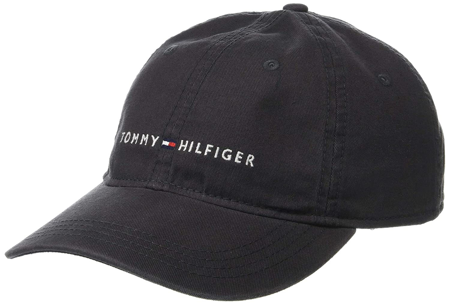 6f8ad0df Tommy Hilfiger Men's Logo Dad Baseball Cap, Charcoal, O/S at Amazon Men's  Clothing store: