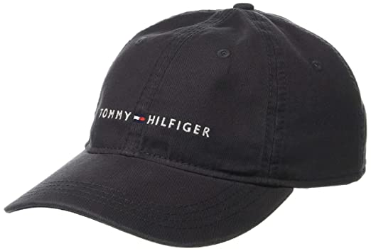e5dd51f8 Tommy Hilfiger Men's Logo Dad Baseball Cap, Charcoal, O/S at Amazon ...