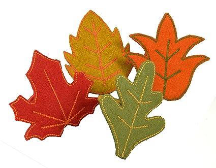 amazon com autumn leaves felt napkin rings by leila linens set of