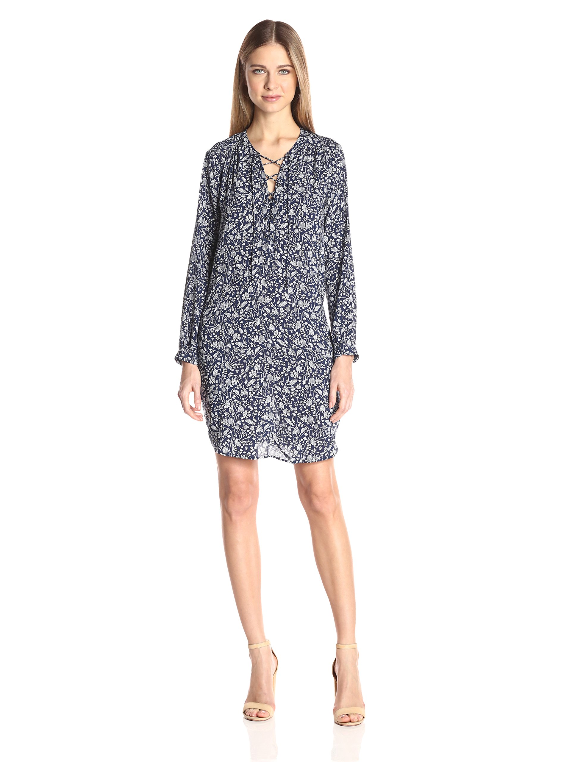 VELVET BY GRAHAM & SPENCER Women's Printed Challis Laceup Dress, Blue Begonia, S