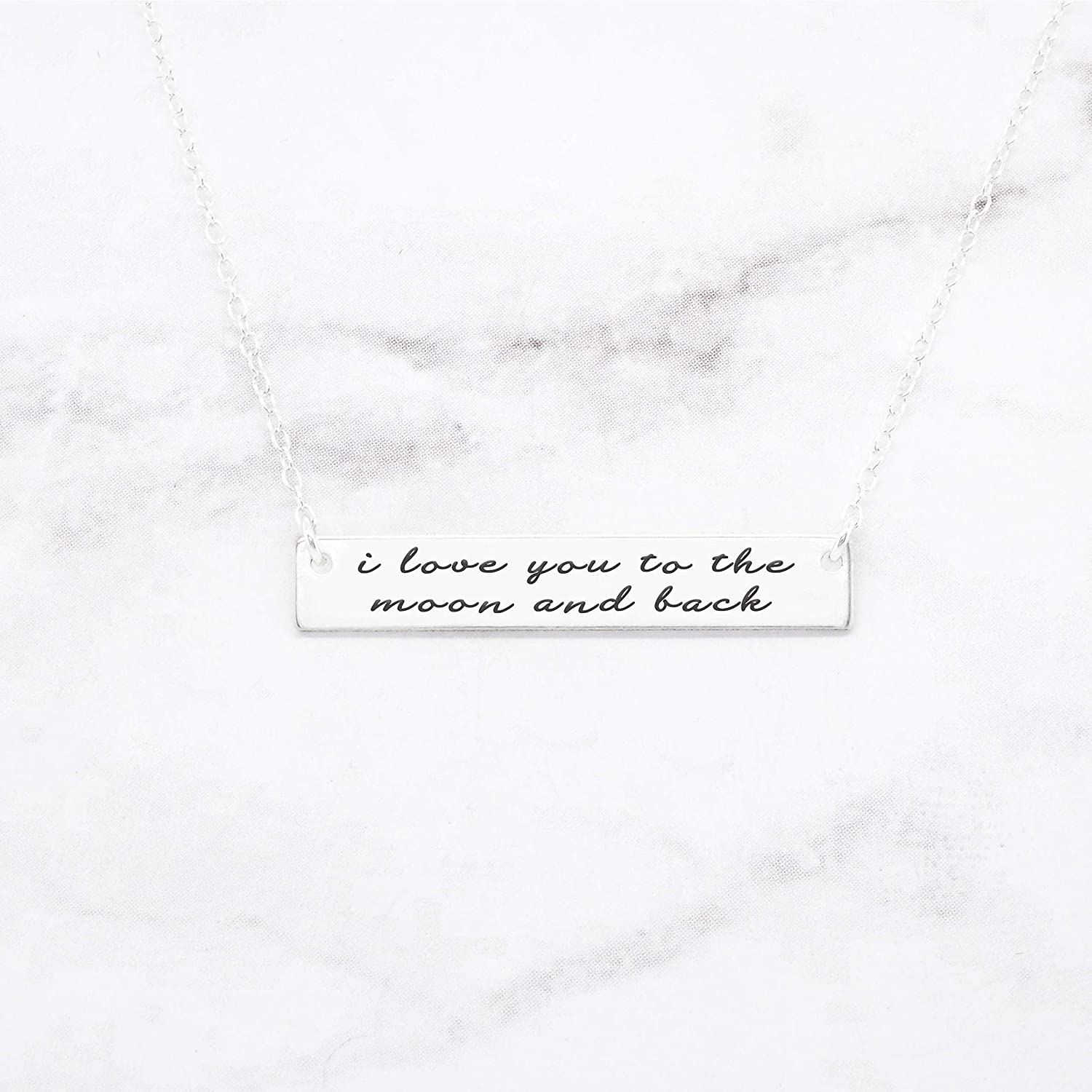 I Love You To The Moon And Back Bar Necklace Gifts foreveryone