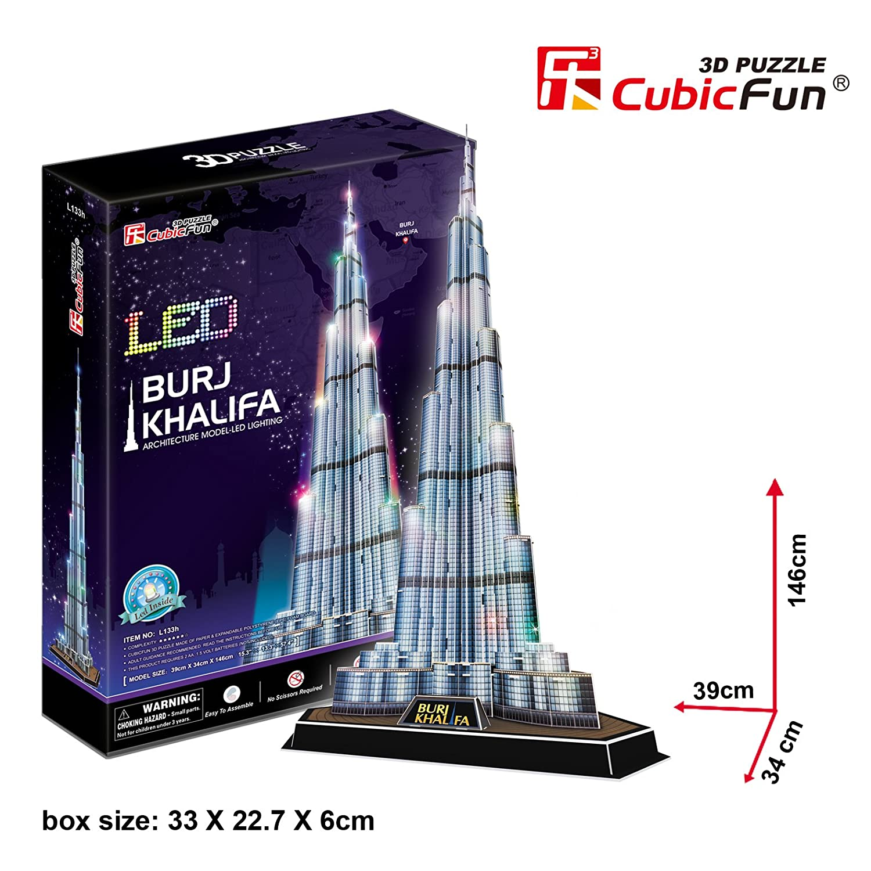 3D Puzzle Burj Khalifa LED Dubai Cubic Fun Licht Light Khalifa Tower