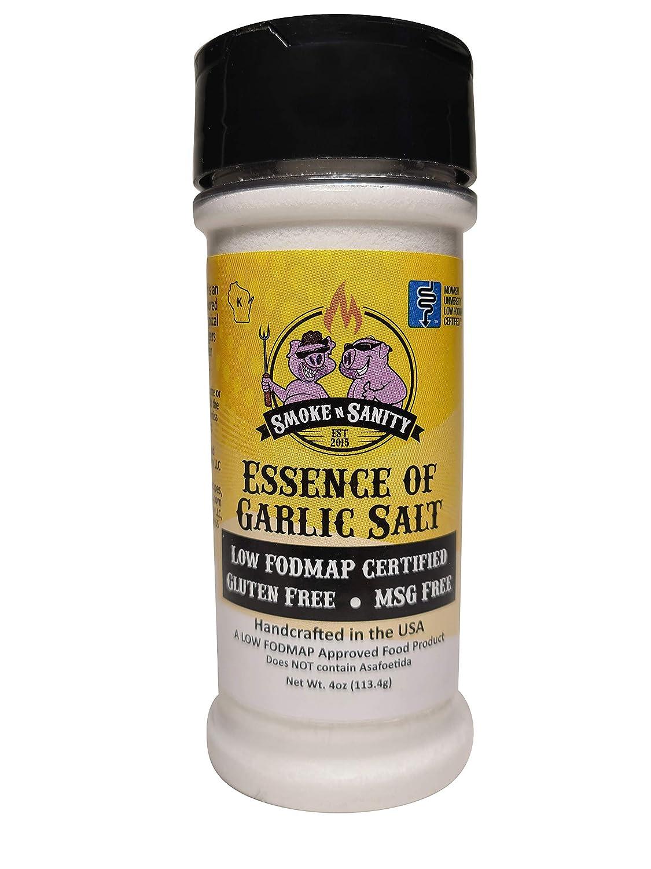 Smoke n Sanity Essence of Garlic Salt - Certified Low FODMAP - Contains No Onion - Certified Gluten Free - Certified Kosher - Dairy Free - 4.0 Ounce Shaker