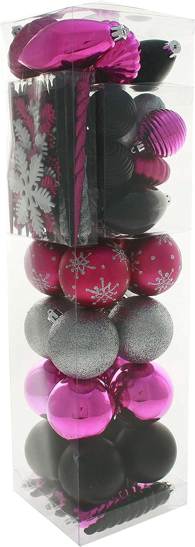 WeRChristmas - Juego de Bolas navideñas (72 Unidades, plástico, antiestillante), Color Rosa, Plateado y Negro