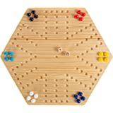 Hey! Play! Classic Wooden Strategic Thinking Game-Complete Set with Board, 24 Colored Marbles, 2 Dice-Fun Vintage 6-Player Game for Kids & Adults