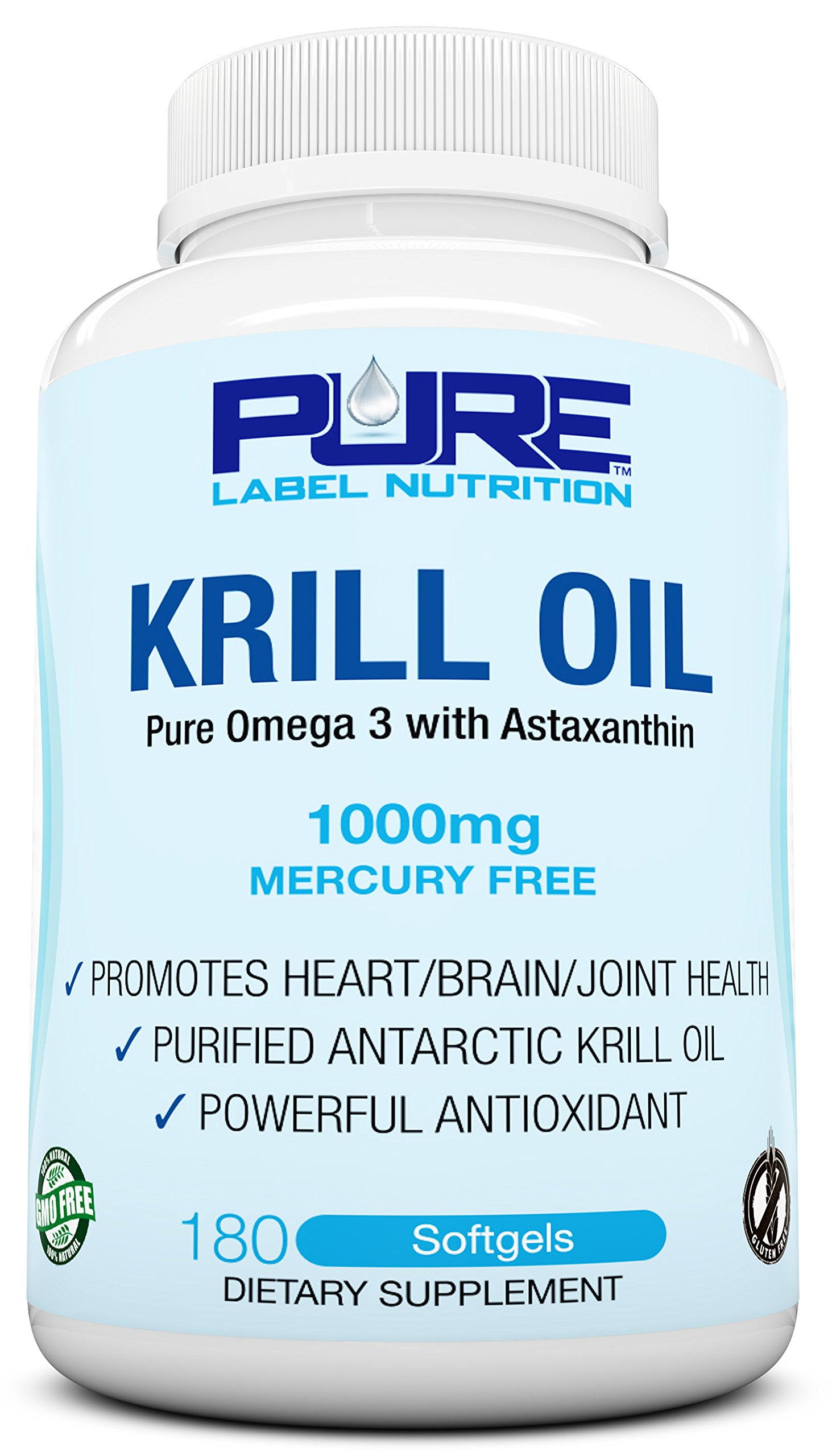 Krill Oil 1000mg with Astaxanthin 180 Caps Omega 3 6 9 - EPA DHA - 100% Purified, Mercury free and Wild Caught - Non GMO - Gluten FREE - Pure Krill Oil - Mega Dose Phospholipids