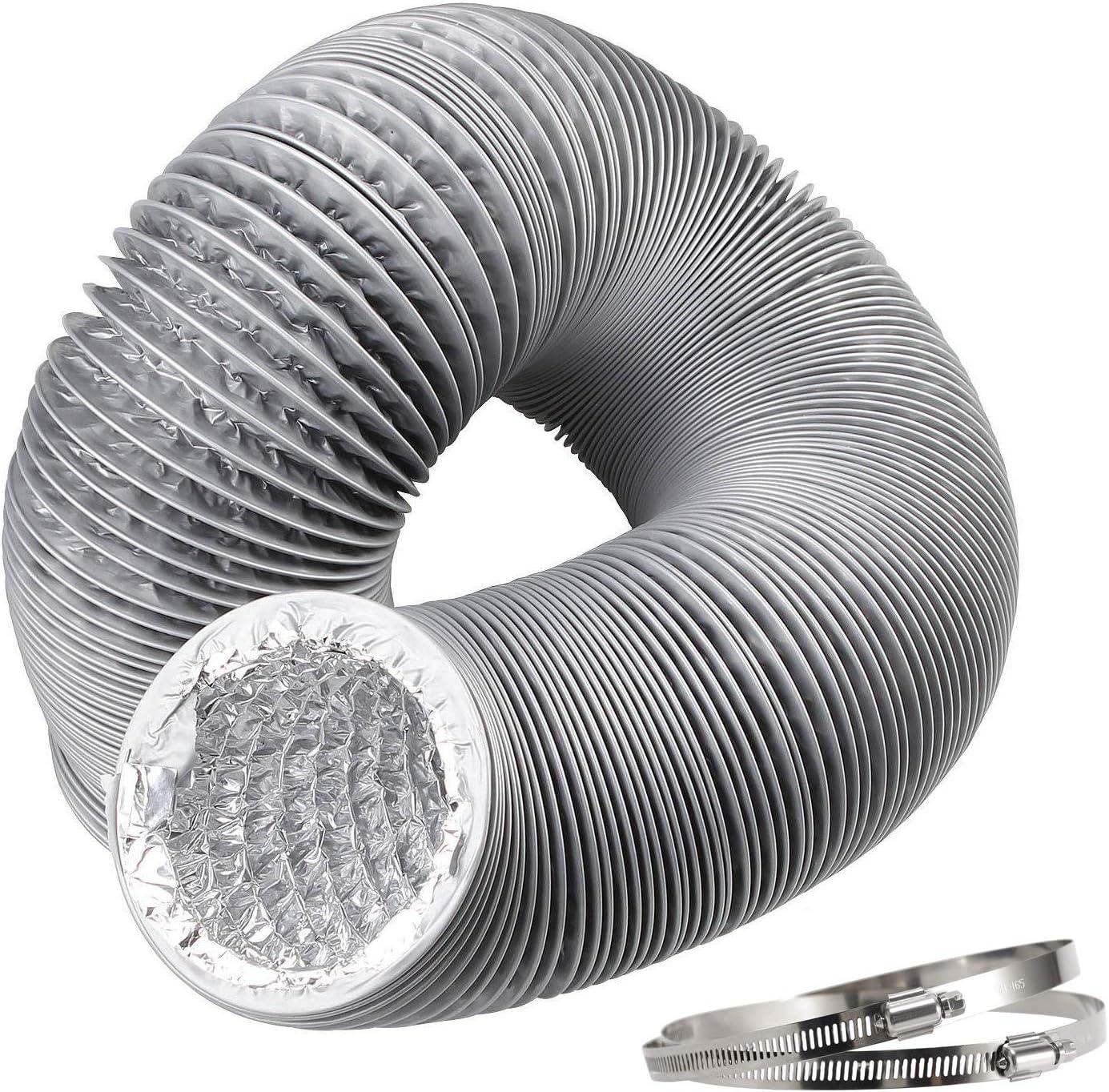 Hon&Guan Tubo de Manguera de Ventilación Tubo Aire Flexible di Aluminio & PVC para Extractor de Aire, Climatización, Secadora (ø100mm*5m, gris)