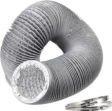 Hon&Guan Tubo de Manguera de Ventilación Tubo Aire Flexible di Aluminio PVC para Extractor de Aire, Climatización, Secadora(ø150mm*5m, Gris): Amazon.es: Bricolaje y herramientas