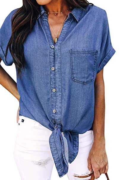 d7f26289 Amazon.com: Geckatte Womens Chambray Button Down Shirts V Neck Short Sleeve  Knot Front Denim Tops Tee: Clothing