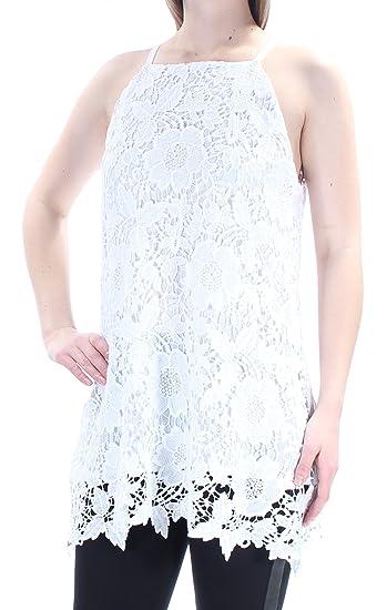8c4202eba8bc7 Alfani  80 Womens New 1570 White Floral Eyelet Lace Sleeveless Halter Top  10 B+B  Amazon.co.uk  Clothing