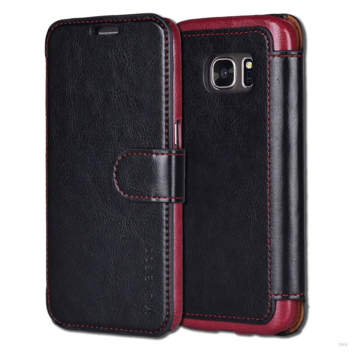 Card Slots Money Pouch and Stand Feature for Samsung Galaxy S7,Wine Red Mulbess Book-Style Leather Wallet Case,Flip Cover with Magnetized Closure