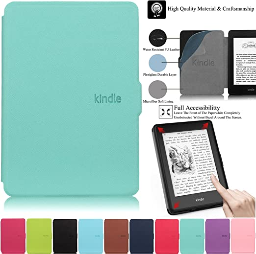 CoBak Kindle Paperwhite Case All New PU Leather Smart Cover with Auto Sleep Wake Feature for Kindle Paperwhite 10th Generation 2018 Released Pink Glitter