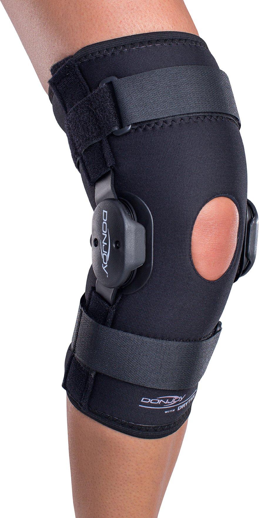 DonJoy Deluxe Hinged Knee Brace, Drytex Sleeve, Open Popliteal, Large