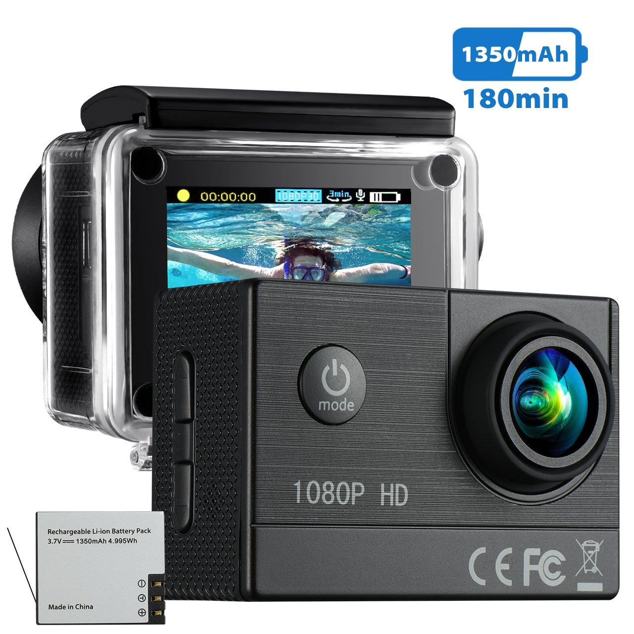 Action Cam VicTsing Camera Azione Full HD 1080P 16 MP, 1350mAh 180 minuti Batteria Ricaricabile, Videocamera Sport Impermeabile con 170°Grandangolare 30m Custodia Waterproof, per Surf, Bungee Jumping, Immersioni, Ciclismo e altri Sport all'aria Aperta. Nero