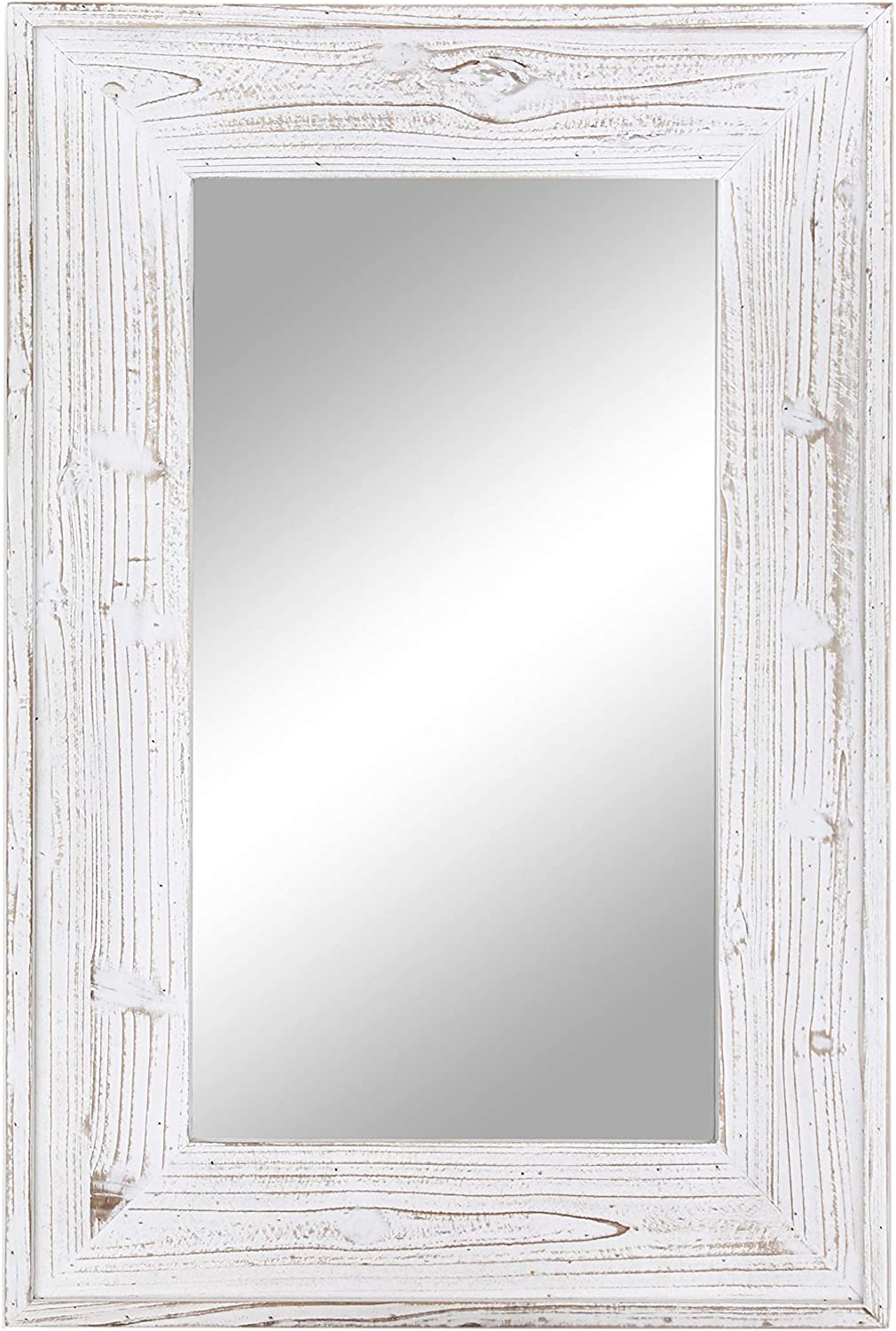 Emaison 36 x 24 inches Wall Mounted Decorative Mirror, Rustic Wood Framed Rectangular Hanging Mirror with 4 Hangers for Farmhouse Bathroom, Entryway, Bedroom Décor