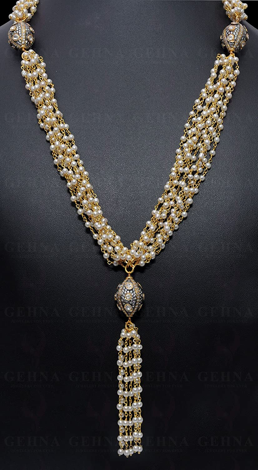 Pearl Gemstone Bead Necklace With Silver Elements In .925 Sterling Silver CM1097