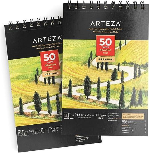 Arteza Cuadernos de dibujo A5 | Pack de 2 blocs de 50 hojas cada uno | Papel grueso de 130g | para dibujo artístico con medios secos: Amazon.es: Hogar