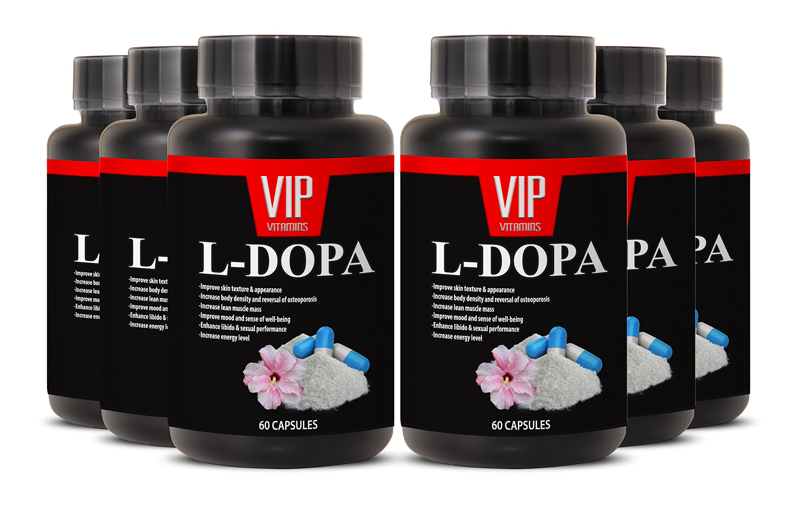 Macuna Pruriens L-Dopa Powder - Mucuna Pruriens Extract (6 bottles 360 capsules) by VIP VITAMINS (Image #1)